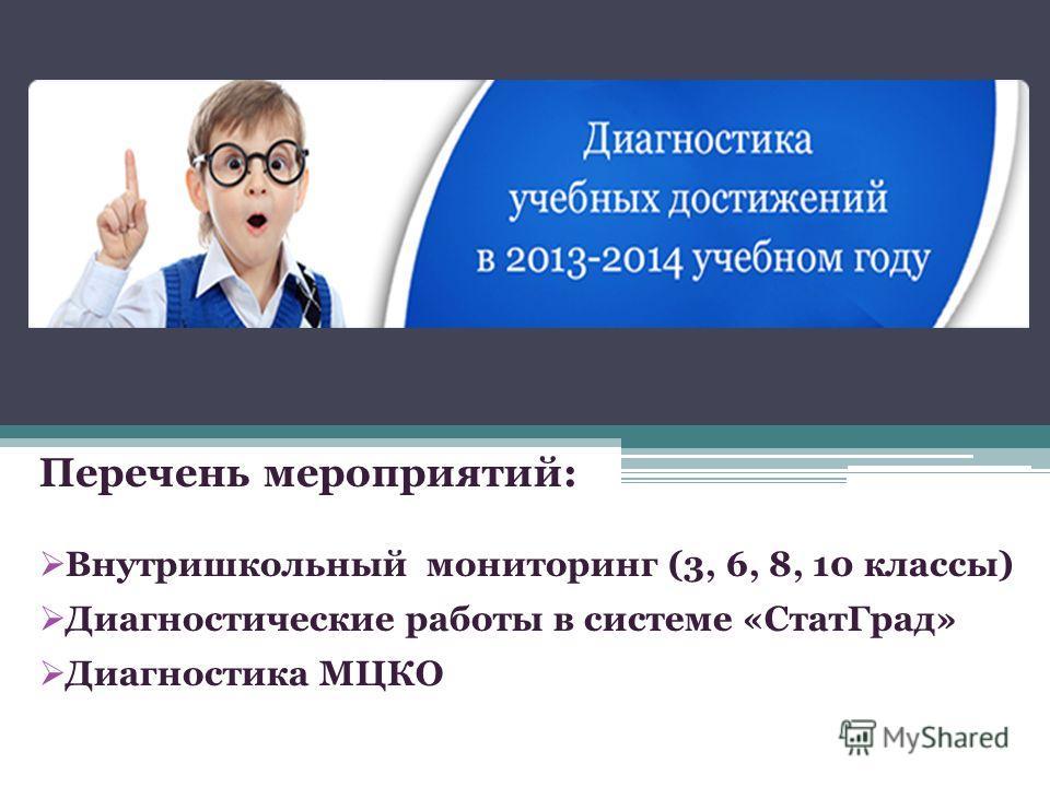 Перечень мероприятий: Внутришкольный мониторинг (3, 6, 8, 10 классы) Диагностические работы в системе «СтатГрад» Диагностика МЦКО