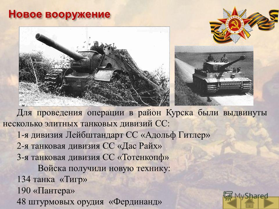 Для проведения операции в район Курска были выдвинуты несколько элитных танковых дивизий СС : 1- я дивизия Лейбштандарт CC « Адольф Гитлер » 2- я танковая дивизия СС « Дас Райх » 3- я танковая дивизия СС « Тотенкопф » Войска получили новую технику :