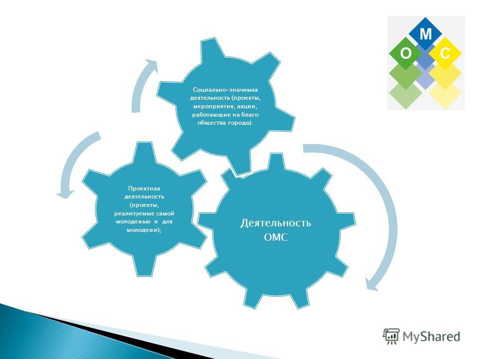 Деятельность ОМС Проектная деятельность (проекты, реализуемые самой молодежью и для молодежи); Социально-значимая деятельность (проекты, мероприятия, акции, работающие на благо общества города).