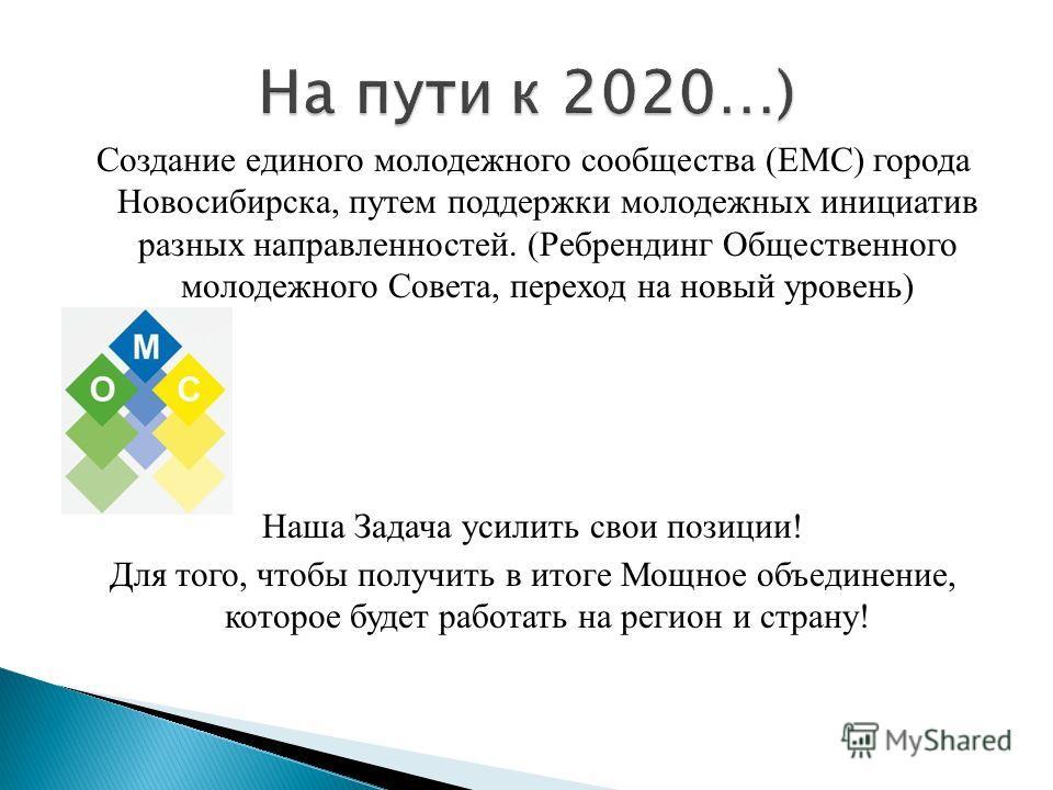 Создание единого молодежного сообщества (ЕМС) города Новосибирска, путем поддержки молодежных инициатив разных направленностей. (Ребрендинг Общественного молодежного Совета, переход на новый уровень) Наша Задача усилить свои позиции! Для того, чтобы