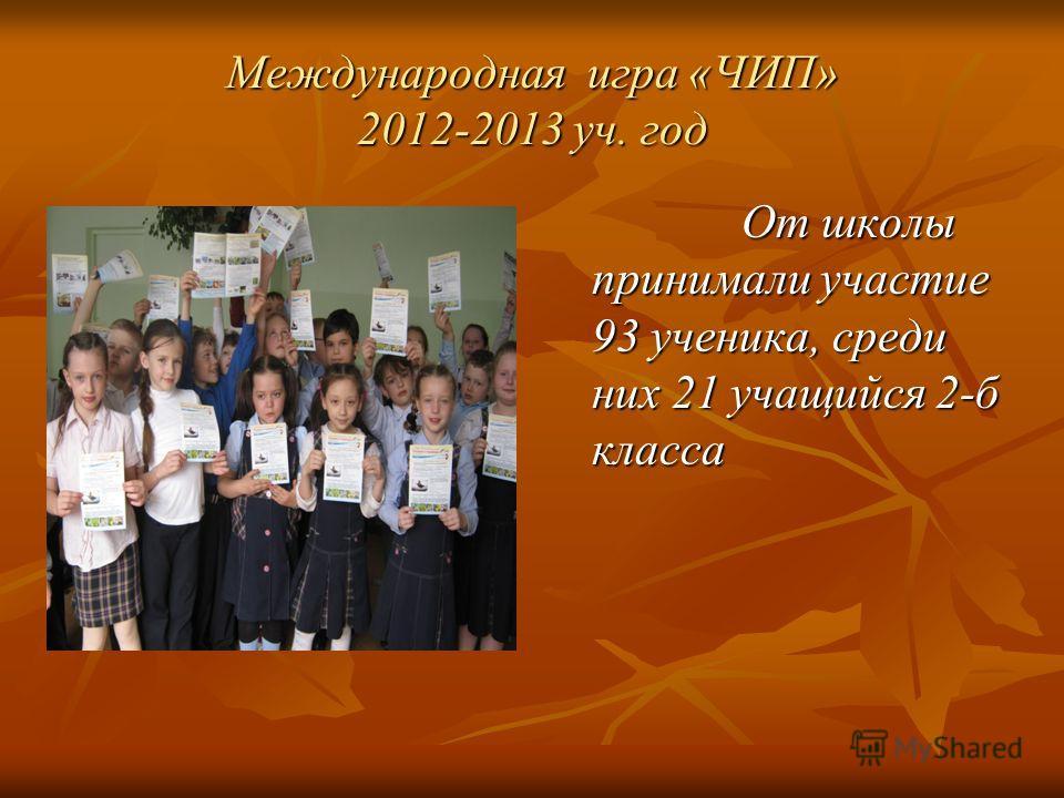 Международная игра «ЧИП» 2012-2013 уч. год От школы принимали участие 93 ученика, среди них 21 учащийся 2-б класса От школы принимали участие 93 ученика, среди них 21 учащийся 2-б класса