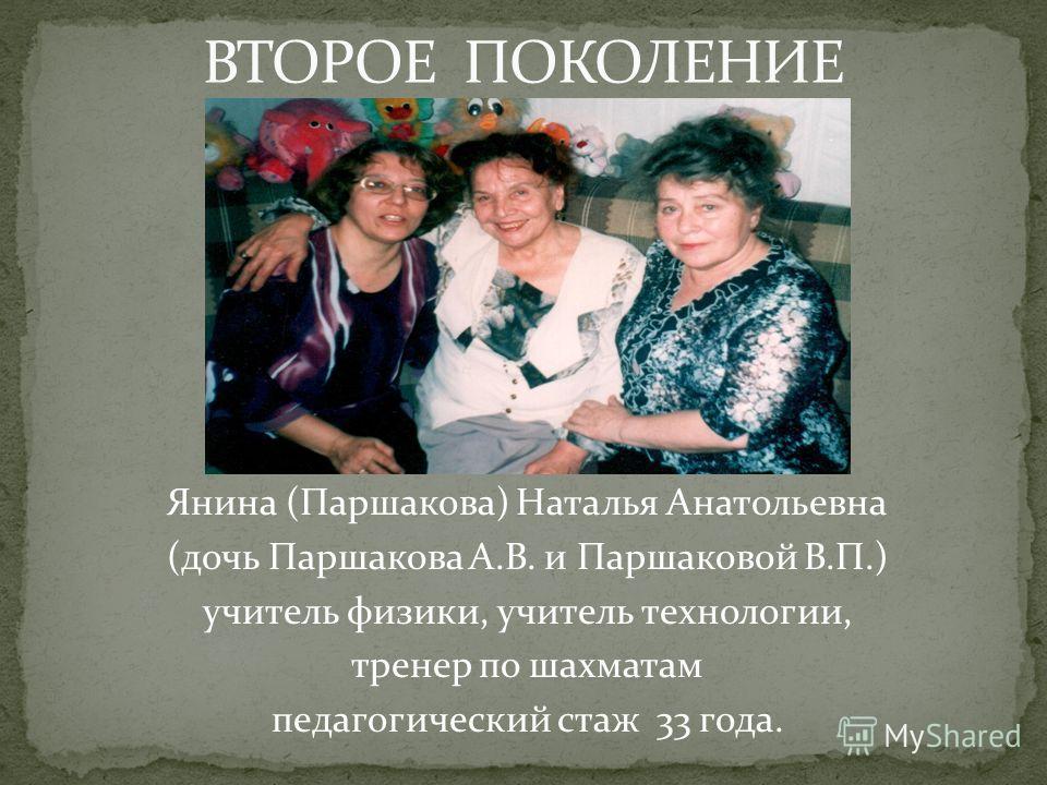 Янина (Паршакова) Наталья Анатольевна (дочь Паршакова А.В. и Паршаковой В.П.) учитель физики, учитель технологии, тренер по шахматам педагогический стаж 33 года.