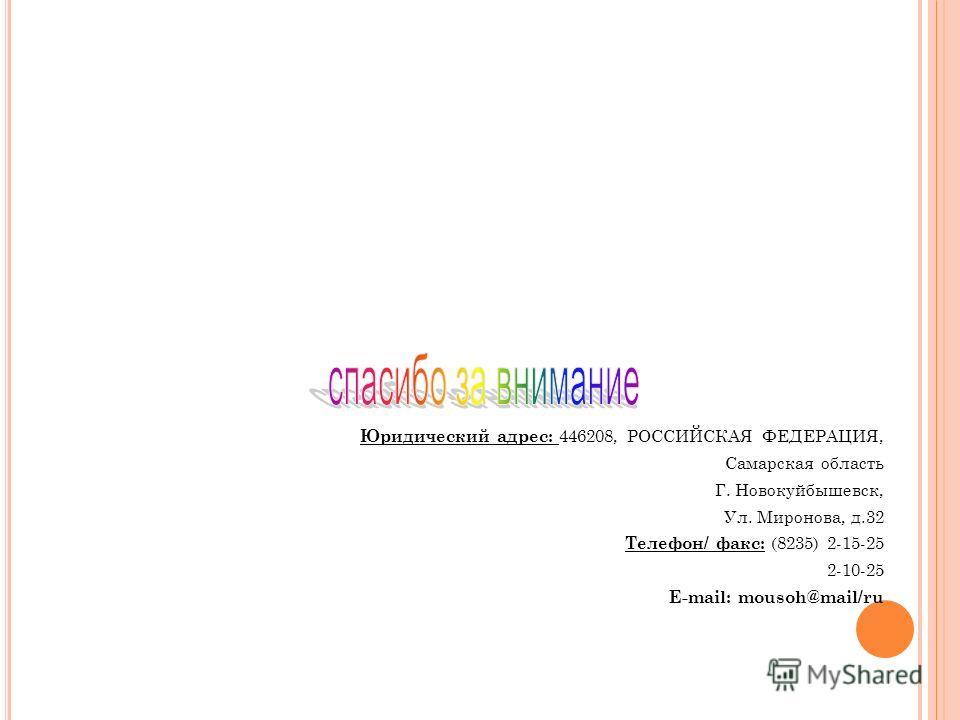 Юридический адрес: 446208, РОССИЙСКАЯ ФЕДЕРАЦИЯ, Самарская область Г. Новокуйбышевск, Ул. Миронова, д.32 Телефон/ факс: (8235) 2-15-25 2-10-25 E-mail: mousoh@mail/ru