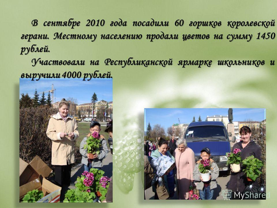 В сентябре 2010 года посадили 60 горшков королевской герани. Местному населению продали цветов на сумму 1450 рублей. Участвовали на Республиканской ярмарке школьников и выручили 4000 рублей.