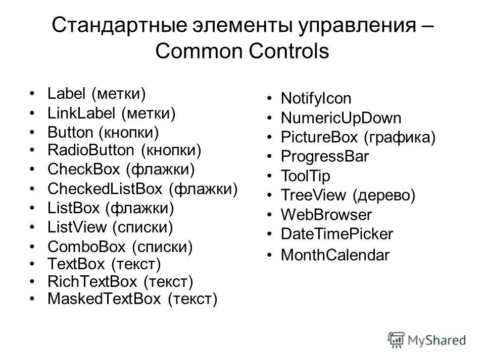 Стандартные элементы управления – Common Controls Label (метки) LinkLabel (метки) Button (кнопки) RadioButton (кнопки) CheckBox (флажки) CheckedListBox (флажки) ListBox (флажки) ListView (списки) ComboBox (списки) TextBox (текст) RichTextBox (текст)