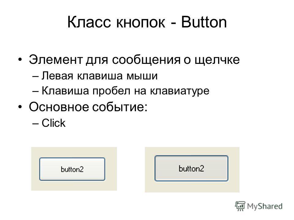 Класс кнопок - Button Элемент для сообщения о щелчке –Левая клавиша мыши –Клавиша пробел на клавиатуре Основное событие: –Click