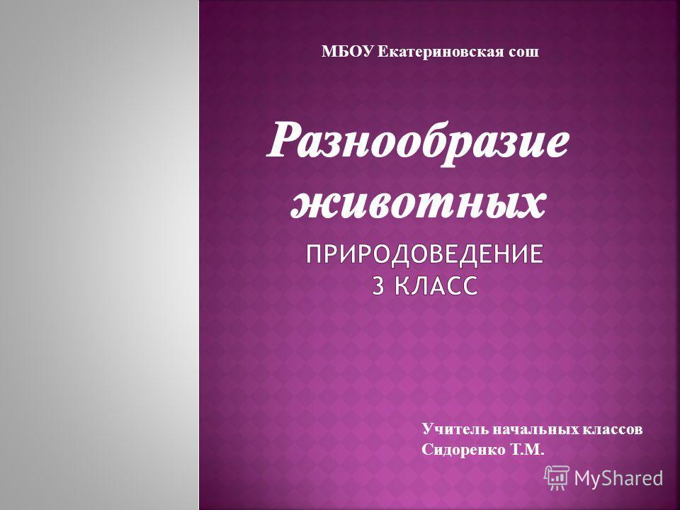 МБОУ Екатериновская сош Учитель начальных классов Сидоренко Т.М.