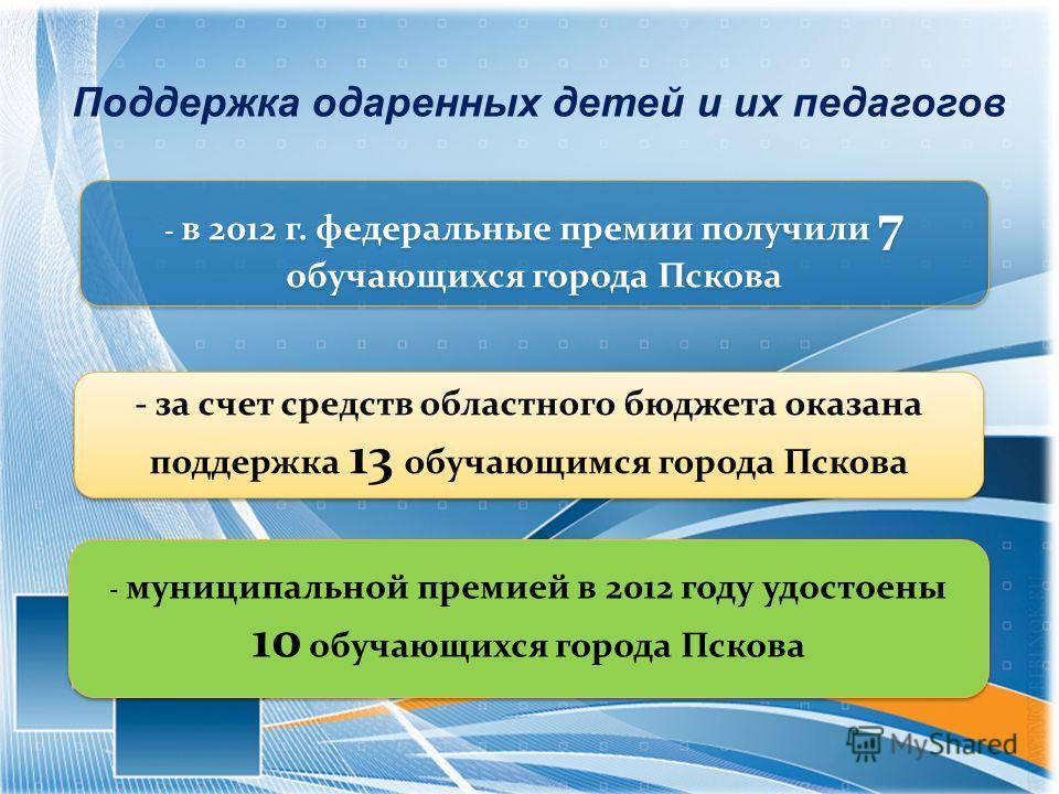 Поддержка одаренных детей и их педагогов - в 2012 г. федеральные премии получили 7 обучающихся города Пскова - за счет средств областного бюджета оказана поддержка 13 обучающимся города Пскова - муниципальной премией в 2012 году удостоены 10 обучающи