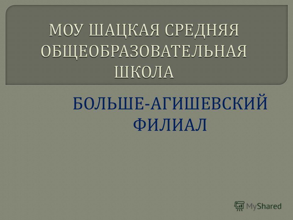 БОЛЬШЕ - АГИШЕВСКИЙ ФИЛИАЛ