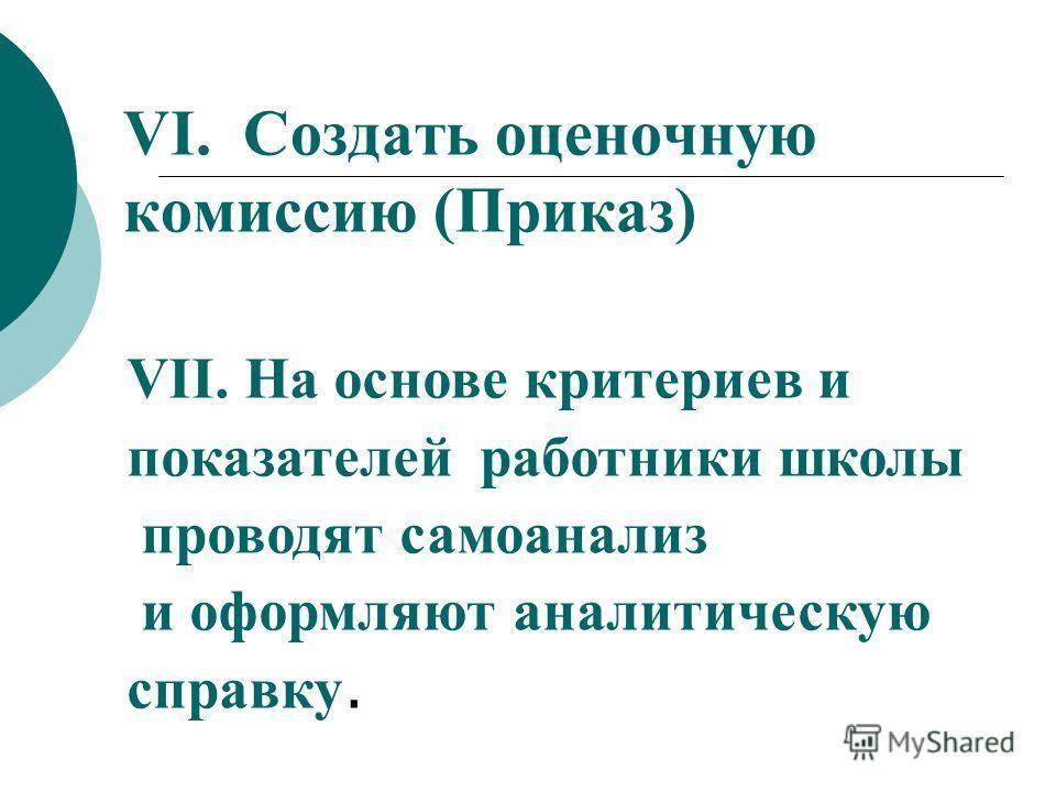 VI. Создать оценочную комиссию (Приказ) VII. На основе критериев и показателей работники школы проводят самоанализ и оформляют аналитическую справку.