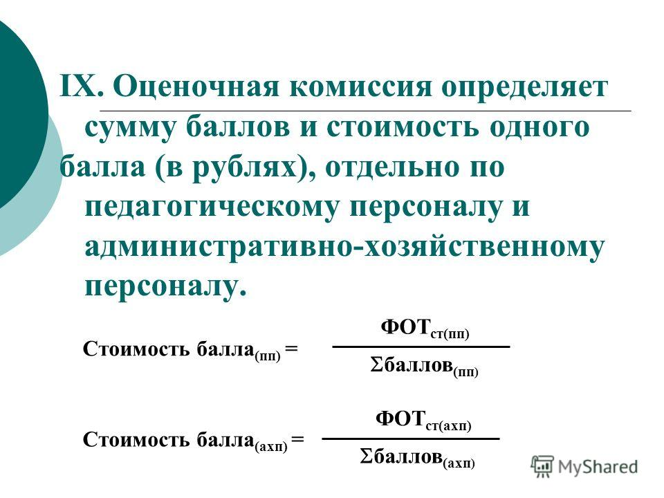 IX. Оценочная комиссия определяет сумму баллов и стоимость одного балла (в рублях), отдельно по педагогическому персоналу и административно-хозяйственному персоналу. баллов (пп ) ФОТ ст(пп) Стоимость балла (пп) = баллов (ахп ) ФОТ ст(ахп) Стоимость б