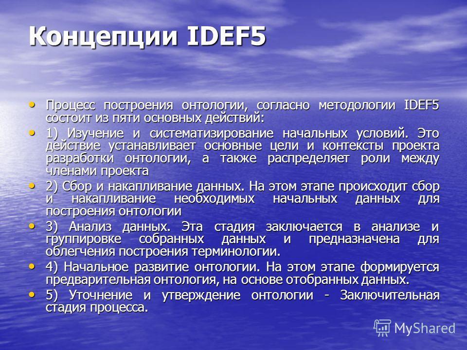Концепции IDEF5 Процесс построения онтологии, согласно методологии IDEF5 состоит из пяти основных действий: Процесс построения онтологии, согласно методологии IDEF5 состоит из пяти основных действий: 1) Изучение и систематизирование начальных условий