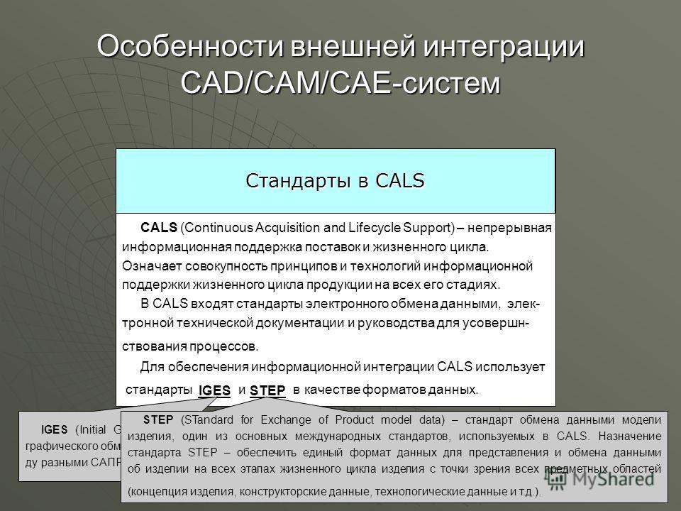 Обеспечение интеграции Требования к информационной системе Стандарты в CALS Интеграция с внешними системами осуществляется стандартны- ми средствами: - с помощью обменных файлов; - одно- или двунаправленного программного интерфейса; - с помощью табли