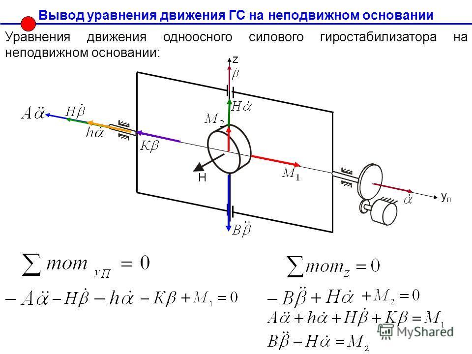 Вывод уравнения движения ГС на неподвижном основании Уравнения движения одноосного силового гиростабилизатора на неподвижном основании: Н упуп z