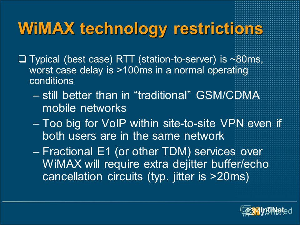 23 WiMAX technology restrictions Typical (best case) RTT (station-to-server) is ~80ms, worst case delay is >100ms in a normal operating conditions –still better than in traditional GSM/CDMA mobile networks –Too big for VoIP within site-to-site VPN ev