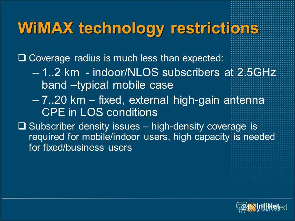 24 WiMAX technology restrictions Coverage radius is much less than expected: –1..2 km - indoor/NLOS subscribers at 2.5GHz band –typical mobile case –7..20 km – fixed, external high-gain antenna CPE in LOS conditions Subscriber density issues – high-d