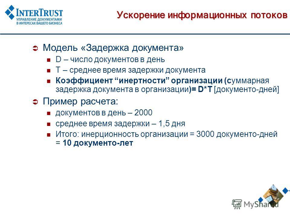 Ускорение информационных потоков Модель «Задержка документа» D – число документов в день T – среднее время задержки документа Коэффициент инертности организации (суммарная задержка документа в организации)= D*T [документо-дней] Пример расчета: докуме