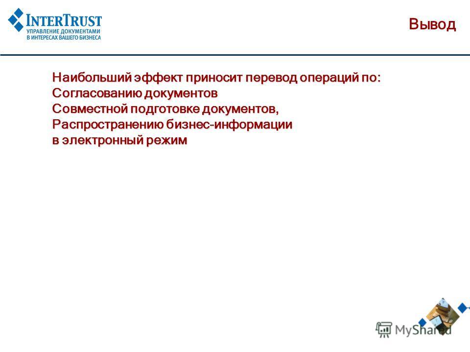 Вывод Наибольший эффект приносит перевод операций по: Согласованию документов Совместной подготовке документов, Распространению бизнес-информации в электронный режим