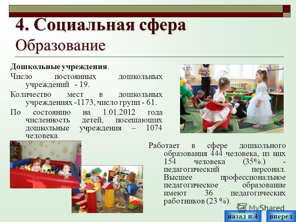 4. Социальная сфера Образование Работает в сфере дошкольного образования 444 человека, из них 154 человека (35%.) - педагогический персонал. Высшее профессиональное педагогическое образование имеют 36 педагогических работников (23 %). Дошкольные учре