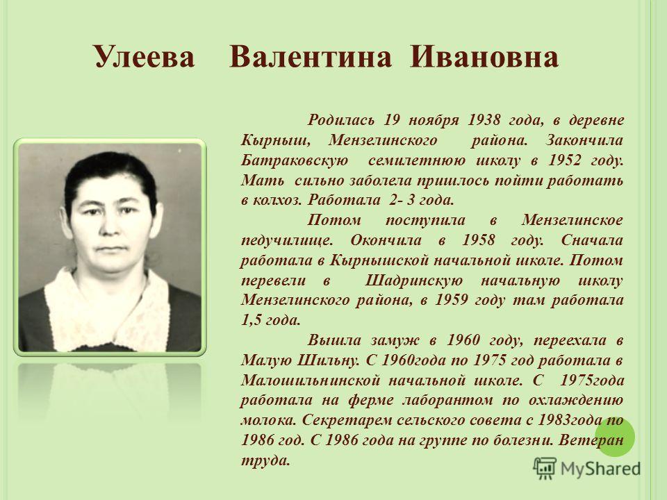 Улеева Валентина Ивановна Родилась 19 ноября 1938 года, в деревне Кырныш, Мензелинского района. Закончила Батраковскую семилетнюю школу в 1952 году. Мать сильно заболела пришлось пойти работать в колхоз. Работала 2- 3 года. Потом поступила в Мензелин