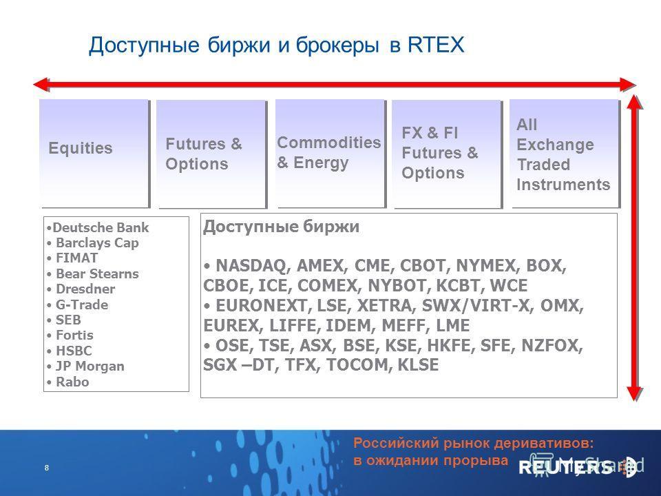 Российский рынок деривативов: в ожидании прорыва 8 Доступные биржи и брокеры в RTEX Доступные биржи NASDAQ, AMEX, CME, CBOT, NYMEX, BOX, CBOE, ICE, COMEX, NYBOT, KCBT, WCE EURONEXT, LSE, XETRA, SWX/VIRT-X, OMX, EUREX, LIFFE, IDEM, MEFF, LME OSE, TSE,