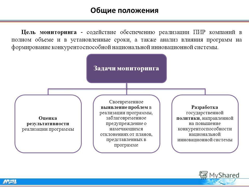 Общие положения Цель мониторинга - содействие обеспечению реализации ПИР компаний в полном объеме и в установленные сроки, а также анализ влияния программ на формирование конкурентоспособной национальной инновационной системы. Задачи мониторинга Оцен