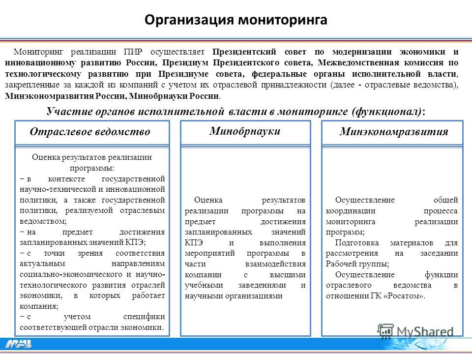 Организация мониторинга Мониторинг реализации ПИР осуществляет Президентский совет по модернизации экономики и инновационному развитию России, Президиум Президентского совета, Межведомственная комиссия по технологическому развитию при Президиуме сове