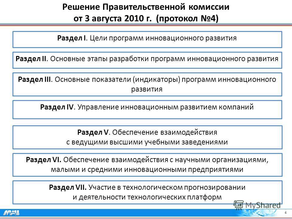 4 Решение Правительственной комиссии от 3 августа 2010 г. (протокол 4) Раздел V. Обеспечение взаимодействия с ведущими высшими учебными заведениями Раздел VI. Обеспечение взаимодействия с научными организациями, малыми и средними инновационными предп