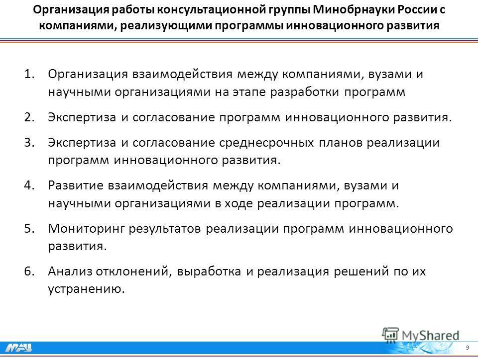 Организация работы консультационной группы Минобрнауки России с компаниями, реализующими программы инновационного развития 1.Организация взаимодействия между компаниями, вузами и научными организациями на этапе разработки программ 2.Экспертиза и согл