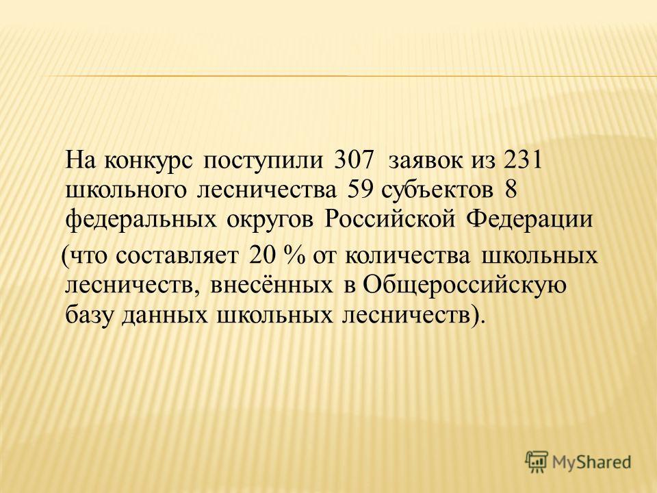 На конкурс поступили 307 заявок из 231 школьного лесничества 59 субъектов 8 федеральных округов Российской Федерации (что составляет 20 % от количества школьных лесничеств, внесённых в Общероссийскую базу данных школьных лесничеств).