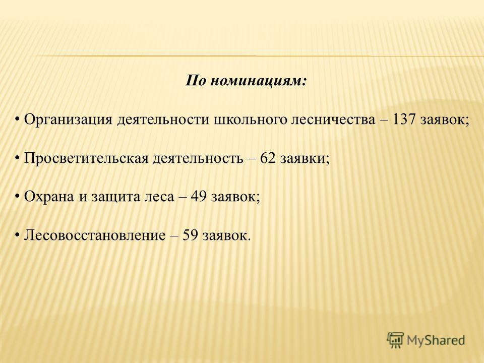 По номинациям: Организация деятельности школьного лесничества – 137 заявок; Просветительская деятельность – 62 заявки; Охрана и защита леса – 49 заявок; Лесовосстановление – 59 заявок.