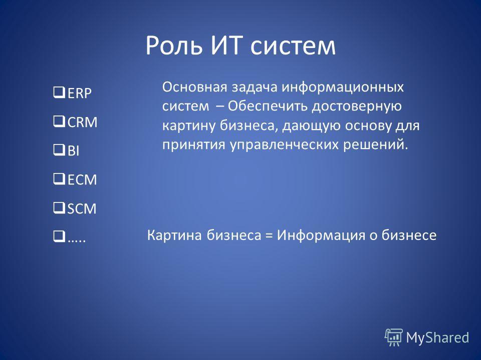 Роль ИТ систем ERP CRM BI ECM SCM ….. Основная задача информационных систем – Обеспечить достоверную картину бизнеса, дающую основу для принятия управленческих решений. Картина бизнеса = Информация о бизнесе