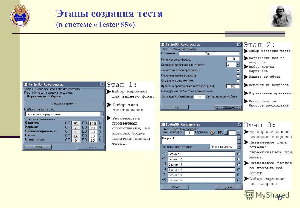 13 Этапы создания теста (в системе «Tester 85»)