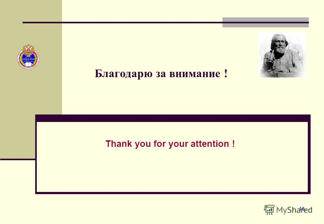16 Благодарю за внимание ! Thank you for your attention !
