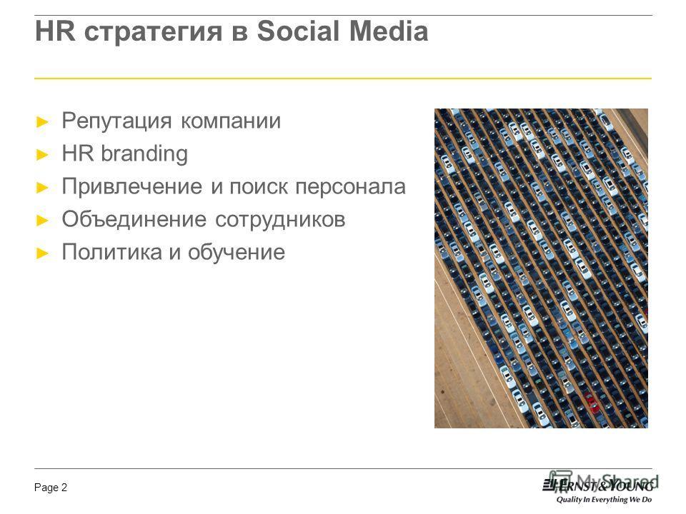 Page 2 HR стратегия в Social Media Репутация компании HR branding Привлечение и поиск персонала Объединение сотрудников Политика и обучение