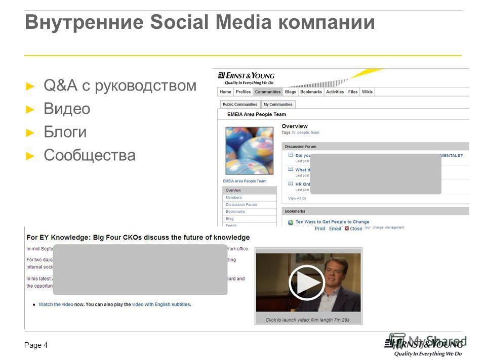 Page 4 Внутренние Social Media компании Q&A с руководством Видео Блоги Сообщества