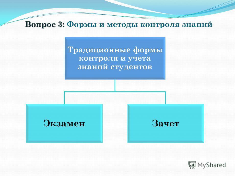 Вопрос 3: Вопрос 3: Формы и методы контроля знаний Традиционные формы контроля и учета знаний студентов ЭкзаменЗачет