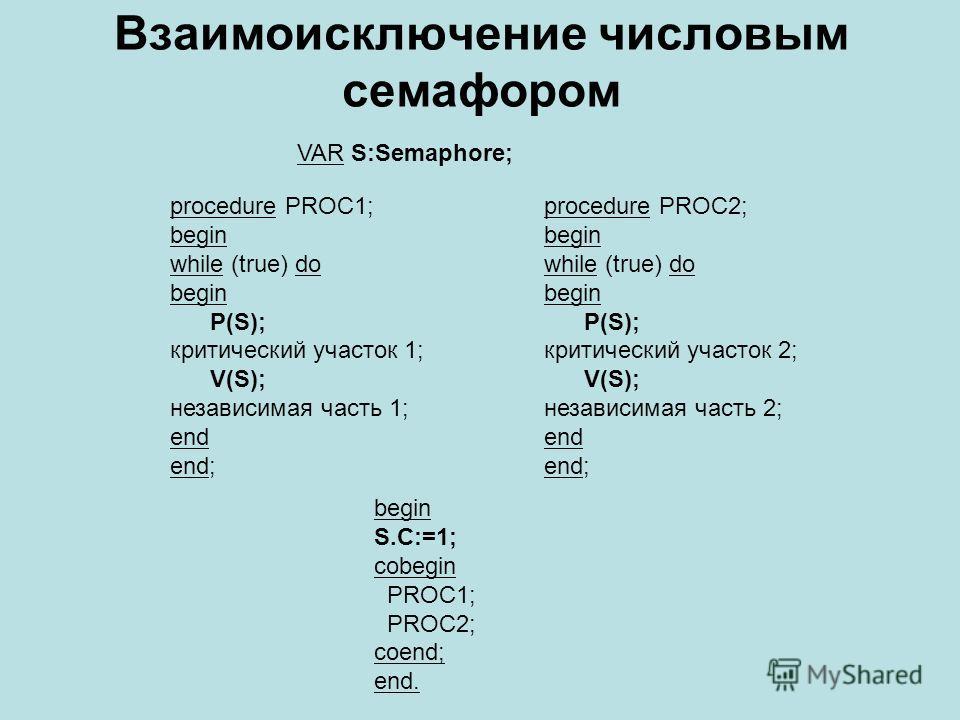 Взаимоисключение числовым семафором VAR S:Semaphore; procedure PROC1; begin while (true) do begin P(S); критический участок 1; V(S); независимая часть 1; end end; procedure PROC2; begin while (true) do begin P(S); критический участок 2; V(S); независ