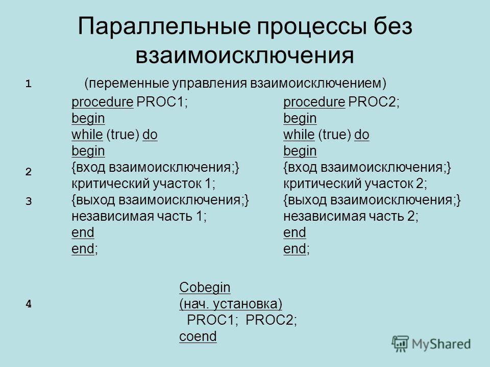 Параллельные процессы без взаимоисключения procedure PROC1; begin while (true) do begin {вход взаимоисключения;} критический участок 1; {выход взаимоисключения;} независимая часть 1; end end; procedure PROC2; begin while (true) do begin {вход взаимои