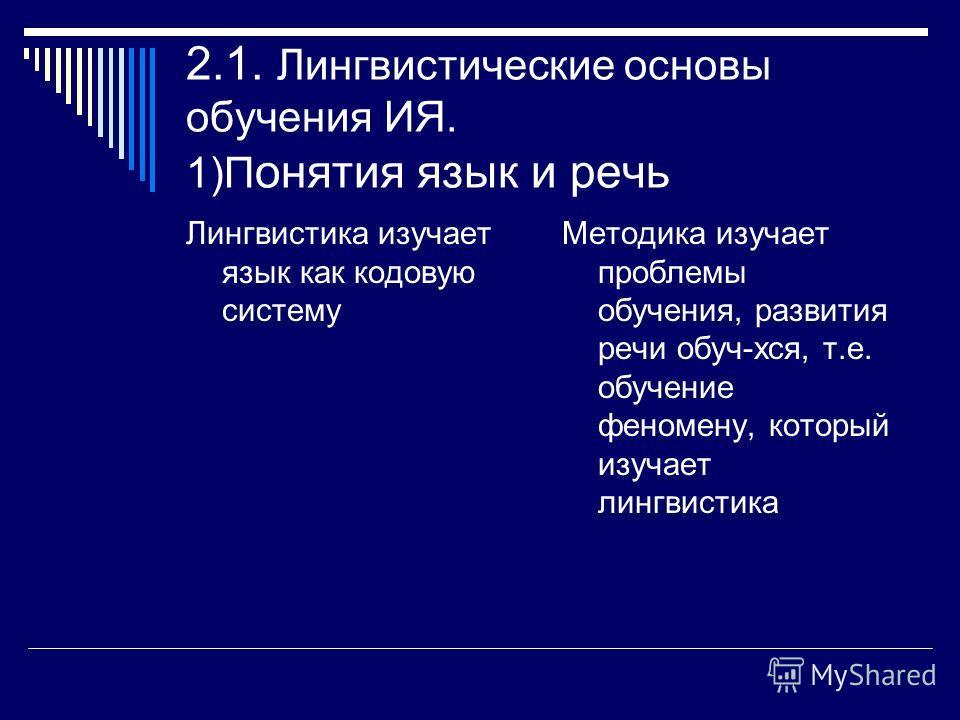 2.1. Лингвистические основы обучения ИЯ. 1)П онятия язык и речь Лингвистика изучает язык как кодовую систему Методика изучает проблемы обучения, развития речи обуч-хся, т.е. обучение феномену, который изучает лингвистика