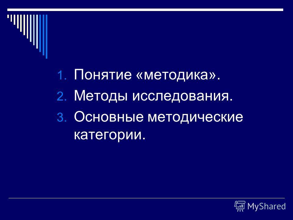 1. Понятие «методика». 2. Методы исследования. 3. Основные методические категории.