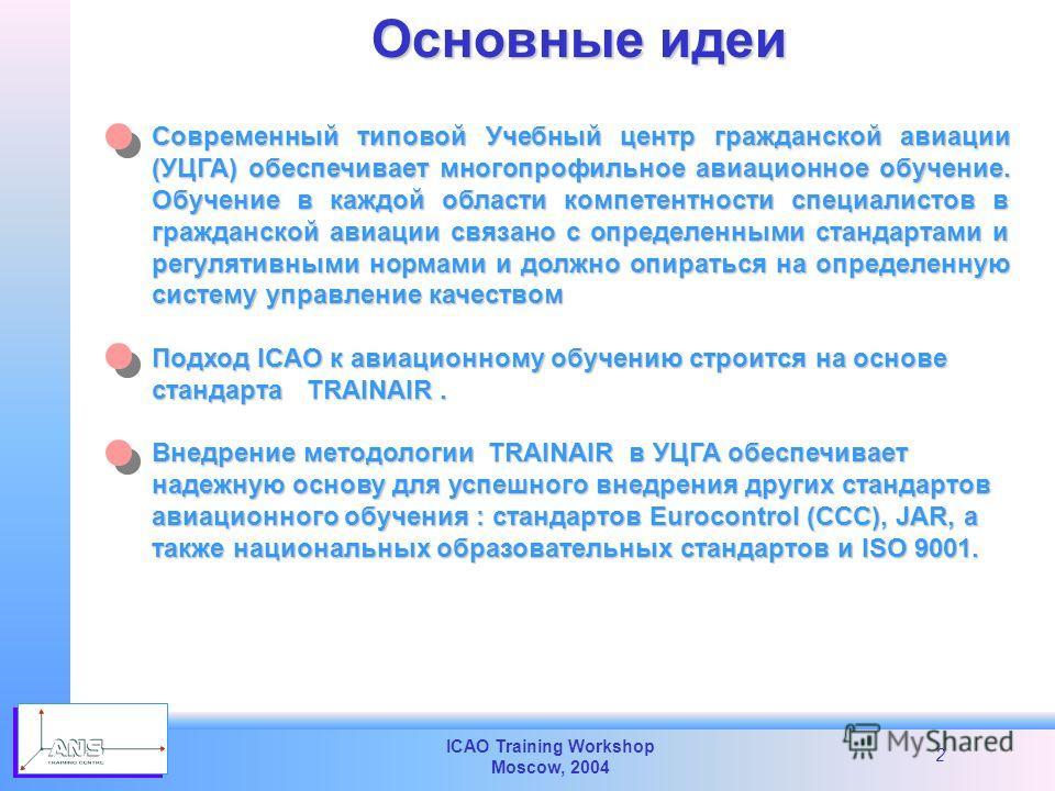 ICAO Training Workshop Moscow, 2004 2 Современный типовой Учебный центр гражданской авиации (УЦГА) обеспечивает многопрофильное авиационное обучение. Обучение в каждой области компетентности специалистов в гражданской авиации связано с определенными