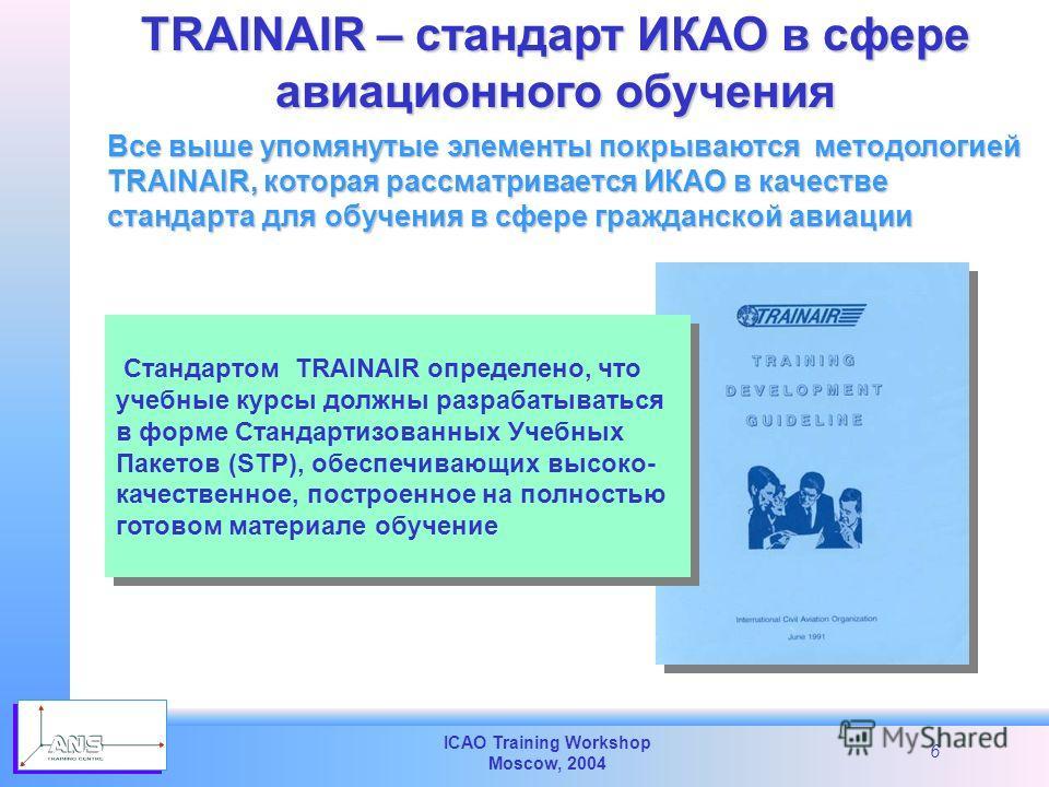 ICAO Training Workshop Moscow, 2004 6 Все выше упомянутые элементы покрываются методологией TRAINAIR, которая рассматривается ИКАО в качестве стандарта для обучения в сфере гражданской авиации TRAINAIR – стандарт ИКАО в сфере авиационного обучения Ст