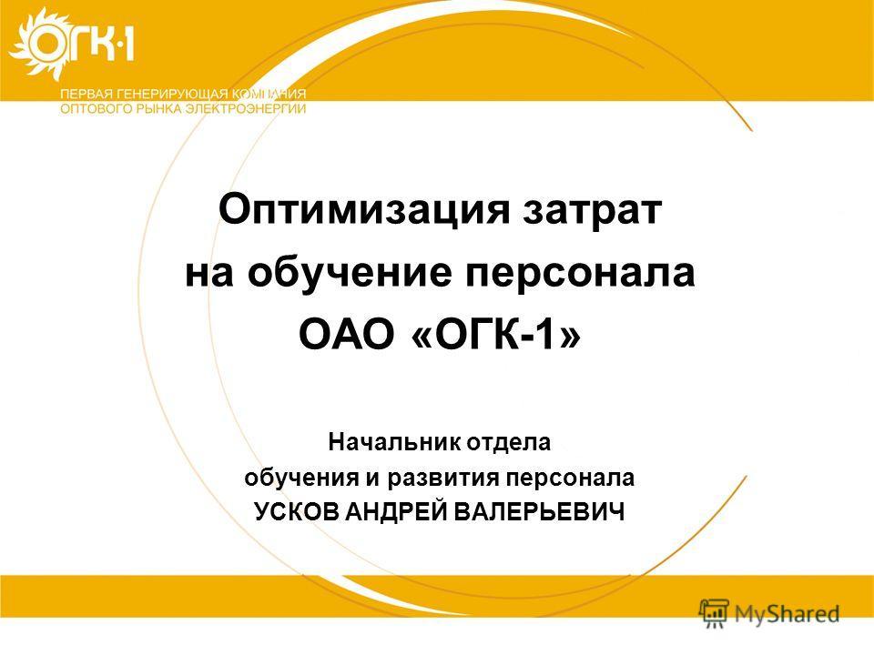 1 Оптимизация затрат на обучение персонала ОАО «ОГК-1» Начальник отдела обучения и развития персонала УСКОВ АНДРЕЙ ВАЛЕРЬЕВИЧ