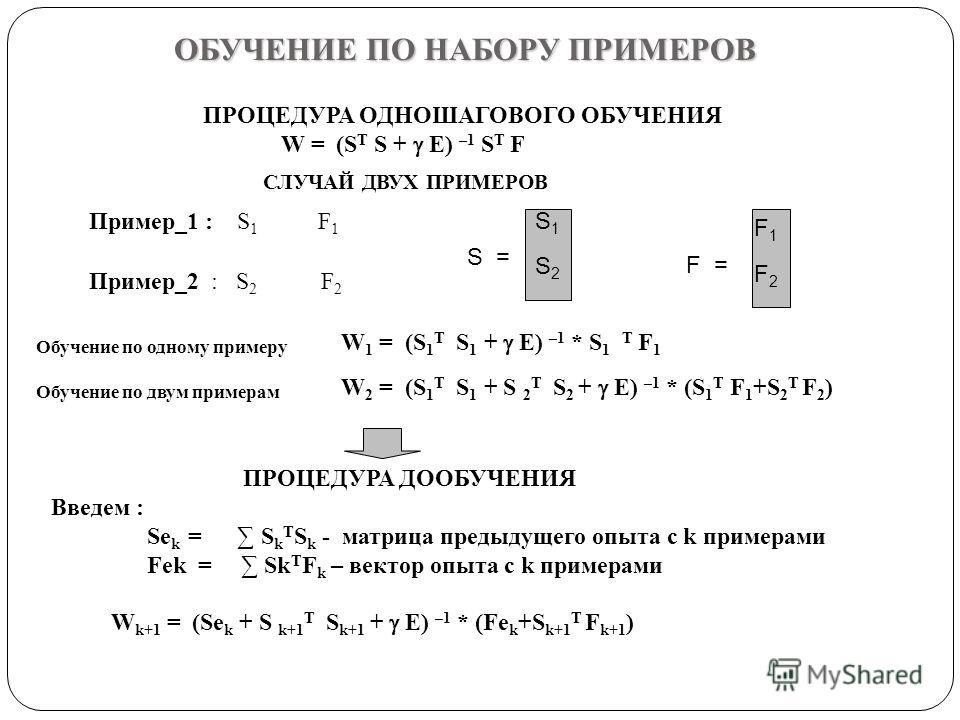 ОБУЧЕНИЕ ПО НАБОРУ ПРИМЕРОВ ПРОЦЕДУРА ОДНОШАГОВОГО ОБУЧЕНИЯ W = (S T S + E) –1 S T F Пример_1 : S 1 F 1 Пример_2 : S 2 F 2 S = S1S1 S2S2 F = F1F1 F2F2 ПРОЦЕДУРА ДООБУЧЕНИЯ Введем : Se k = S k T S k - матрица предыдущего опыта с k примерами Fek = Sk T