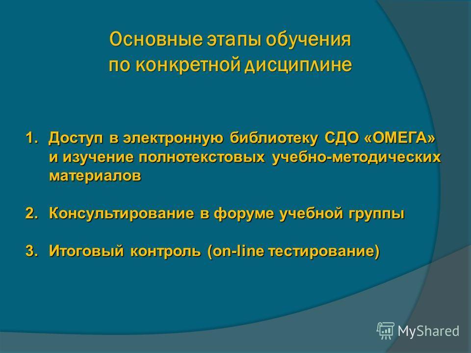 Основные этапы обучения по конкретной дисциплине 1.Доступ в электронную библиотеку СДО «ОМЕГА» и изучение полнотекстовых учебно-методических материалов 2.Консультирование в форуме учебной группы 3.Итоговый контроль (on-line тестирование)