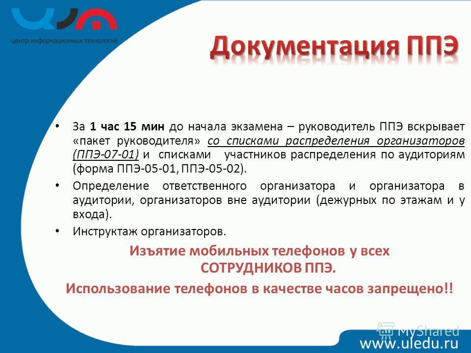 www.uledu.ru За 1 час 15 мин до начала экзамена – руководитель ППЭ вскрывает «пакет руководителя» со списками распределения организаторов (ППЭ-07-01) и списками участников распределения по аудиториям (форма ППЭ-05-01, ППЭ-05-02). Определение ответств