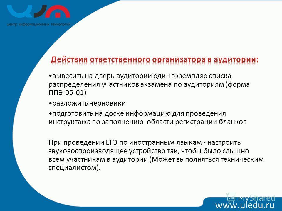 www.uledu.ru вывесить на дверь аудитории один экземпляр списка распределения участников экзамена по аудиториям (форма ППЭ-05-01) разложить черновики подготовить на доске информацию для проведения инструктажа по заполнению области регистрации бланков