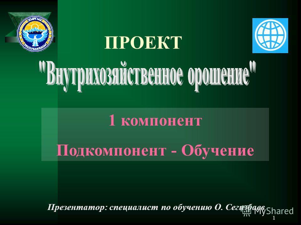 1 ПРОЕКТ 1 компонент Подкомпонент - Обучение Презентатор: специалист по обучению О. Сегизбаев