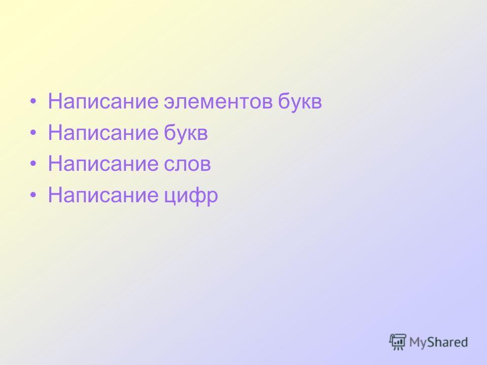 Написание элементов букв Написание букв Написание слов Написание цифр